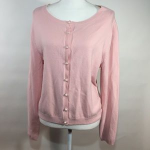 Apostrophe stretch pink sweater pearl buttons. XL